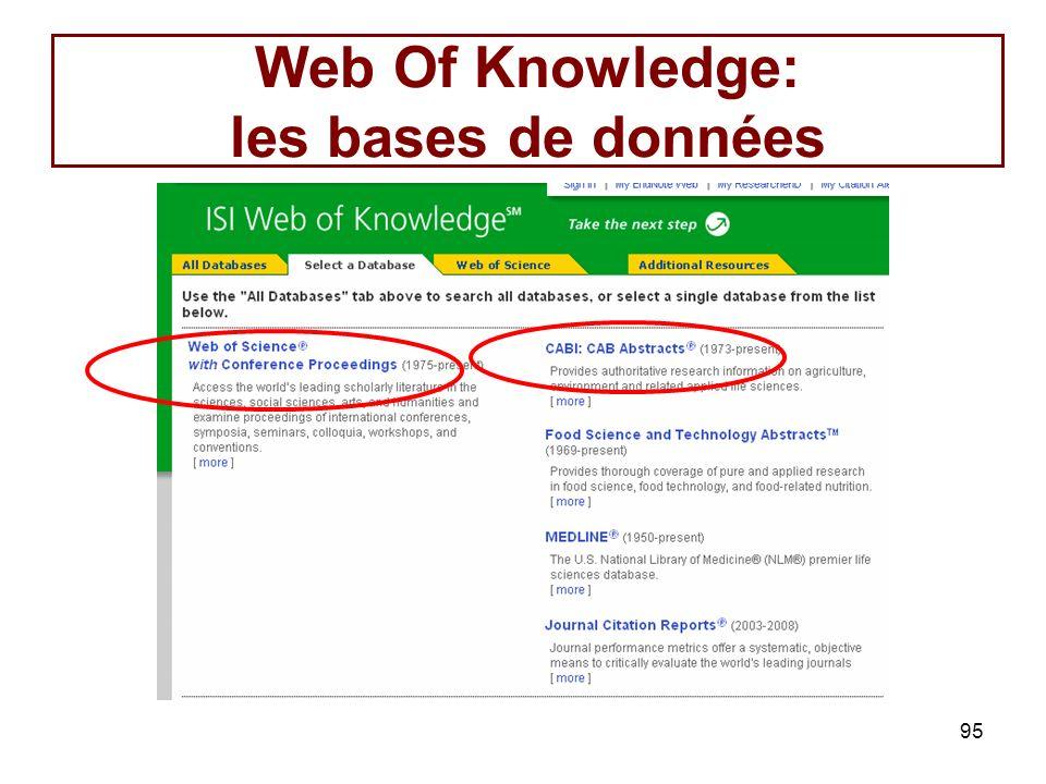 95 Web Of Knowledge: les bases de données