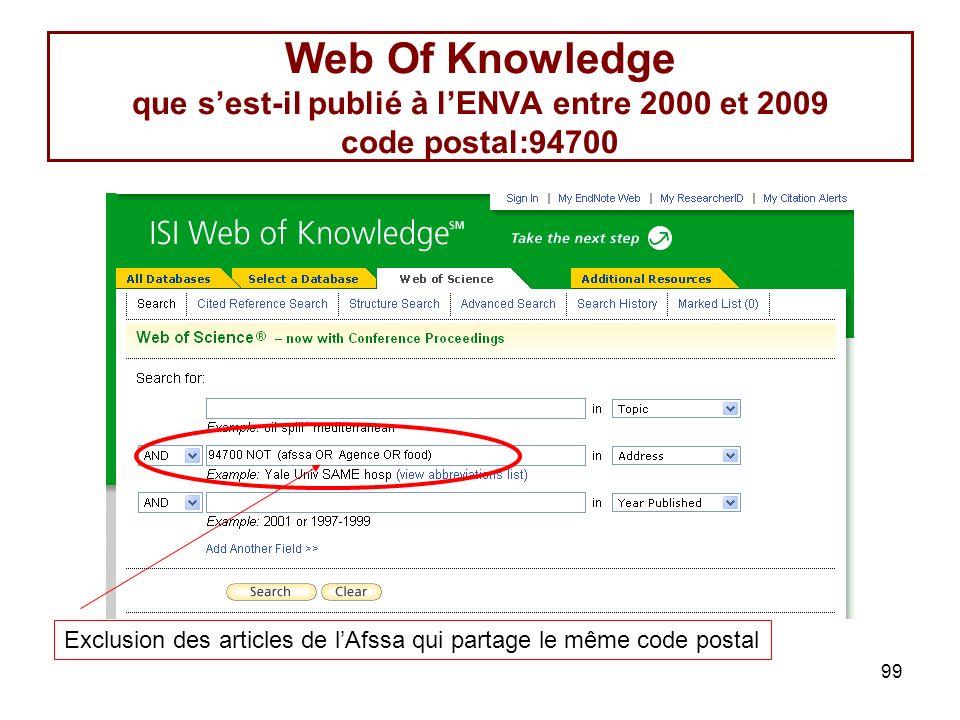99 Web Of Knowledge que sest-il publié à lENVA entre 2000 et 2009 code postal:94700 Exclusion des articles de lAfssa qui partage le même code postal