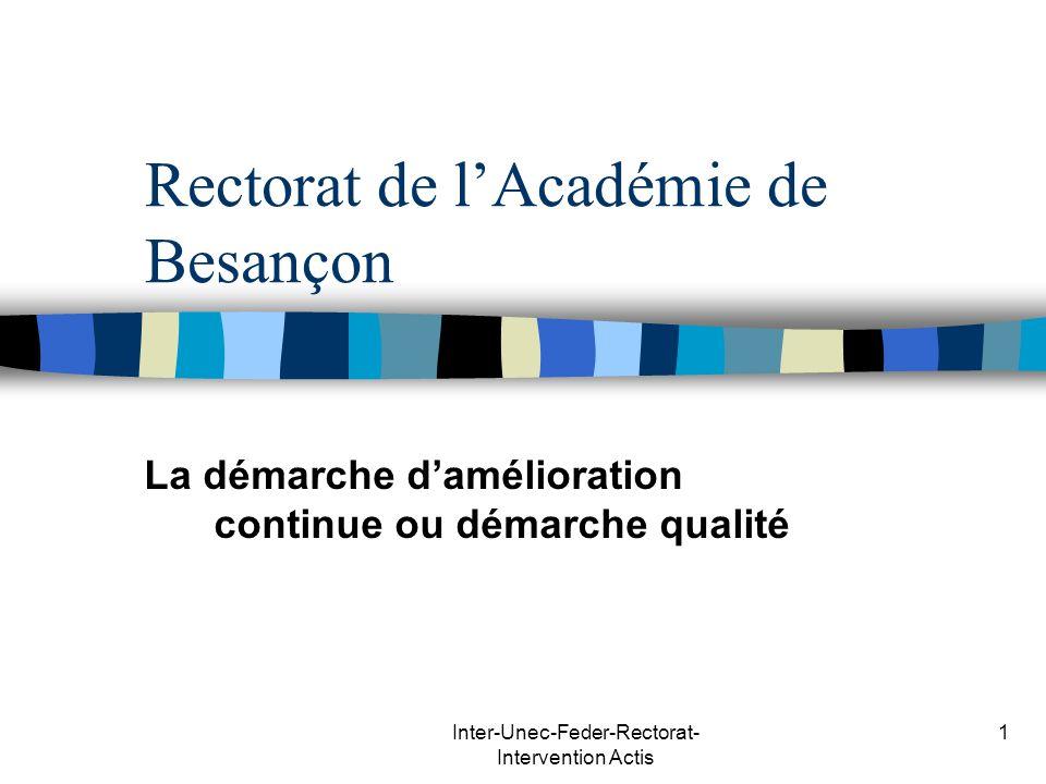 Inter-Unec-Feder-Rectorat- Intervention Actis 1 Rectorat de lAcadémie de Besançon La démarche damélioration continue ou démarche qualité