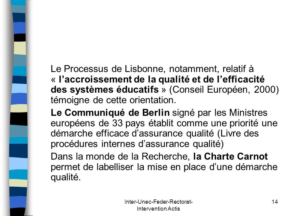 Inter-Unec-Feder-Rectorat- Intervention Actis 14 Le Processus de Lisbonne, notamment, relatif à « laccroissement de la qualité et de lefficacité des s