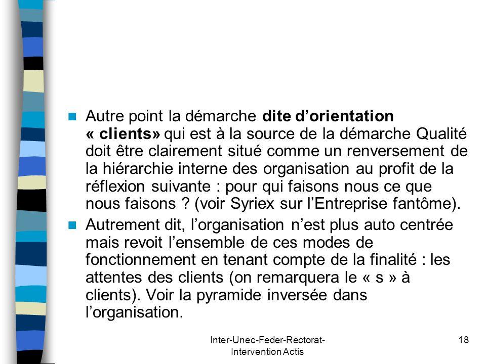 Inter-Unec-Feder-Rectorat- Intervention Actis 18 Autre point la démarche dite dorientation « clients» qui est à la source de la démarche Qualité doit