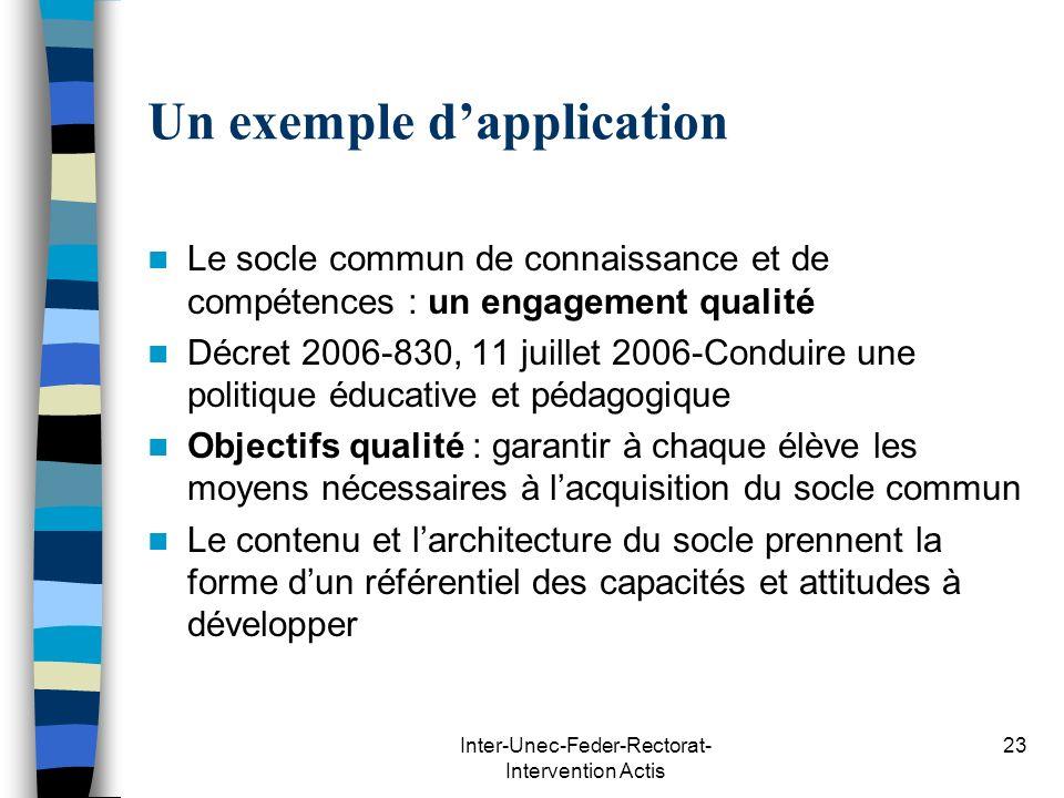 Inter-Unec-Feder-Rectorat- Intervention Actis 23 Un exemple dapplication Le socle commun de connaissance et de compétences : un engagement qualité Déc