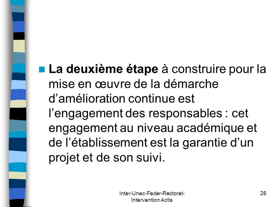 Inter-Unec-Feder-Rectorat- Intervention Actis 26 La deuxième étape à construire pour la mise en œuvre de la démarche damélioration continue est lengag