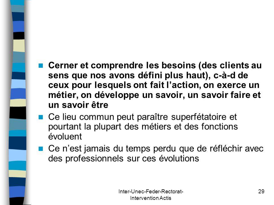 Inter-Unec-Feder-Rectorat- Intervention Actis 29 Cerner et comprendre les besoins (des clients au sens que nos avons défini plus haut), c-à-d de ceux