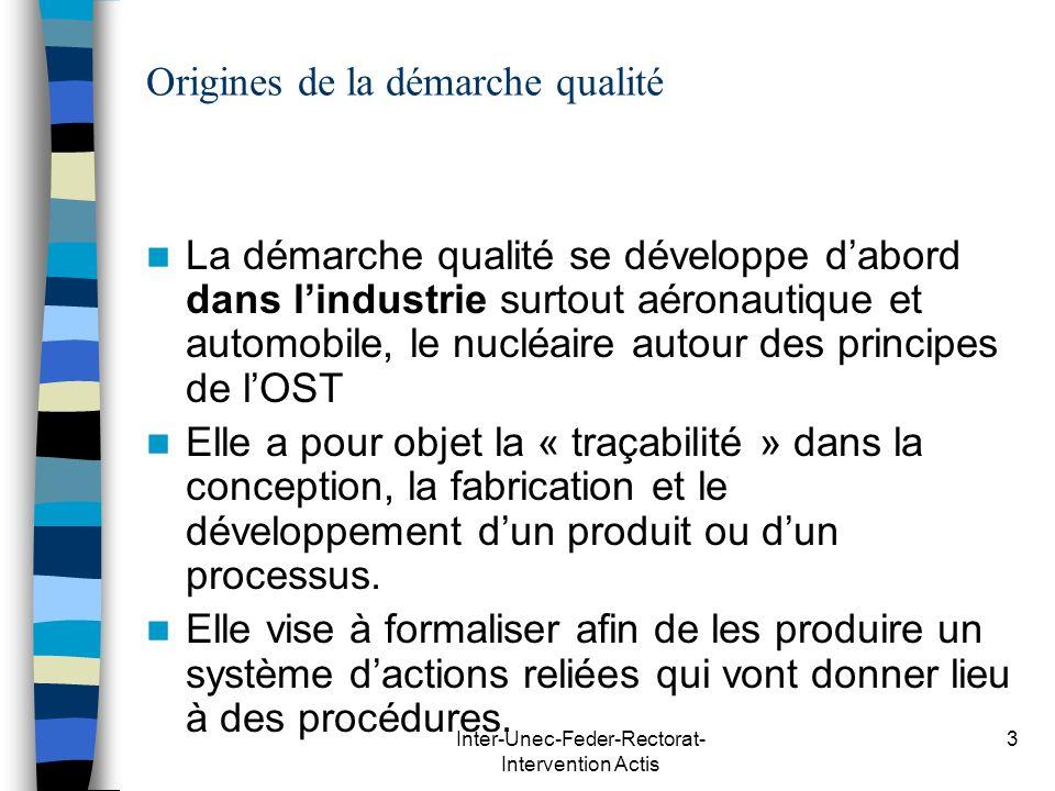 Inter-Unec-Feder-Rectorat- Intervention Actis 3 Origines de la démarche qualité La démarche qualité se développe dabord dans lindustrie surtout aérona