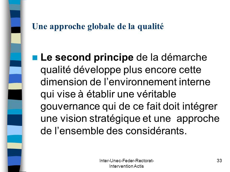 Inter-Unec-Feder-Rectorat- Intervention Actis 33 Une approche globale de la qualité Le second principe de la démarche qualité développe plus encore ce