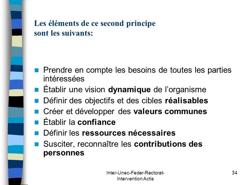Inter-Unec-Feder-Rectorat- Intervention Actis 34 Les éléments de ce second principe sont les suivants: Prendre en compte les besoins de toutes les par