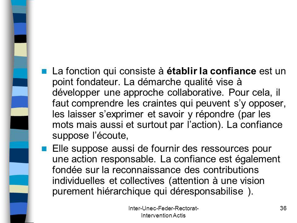 Inter-Unec-Feder-Rectorat- Intervention Actis 36 La fonction qui consiste à établir la confiance est un point fondateur. La démarche qualité vise à dé