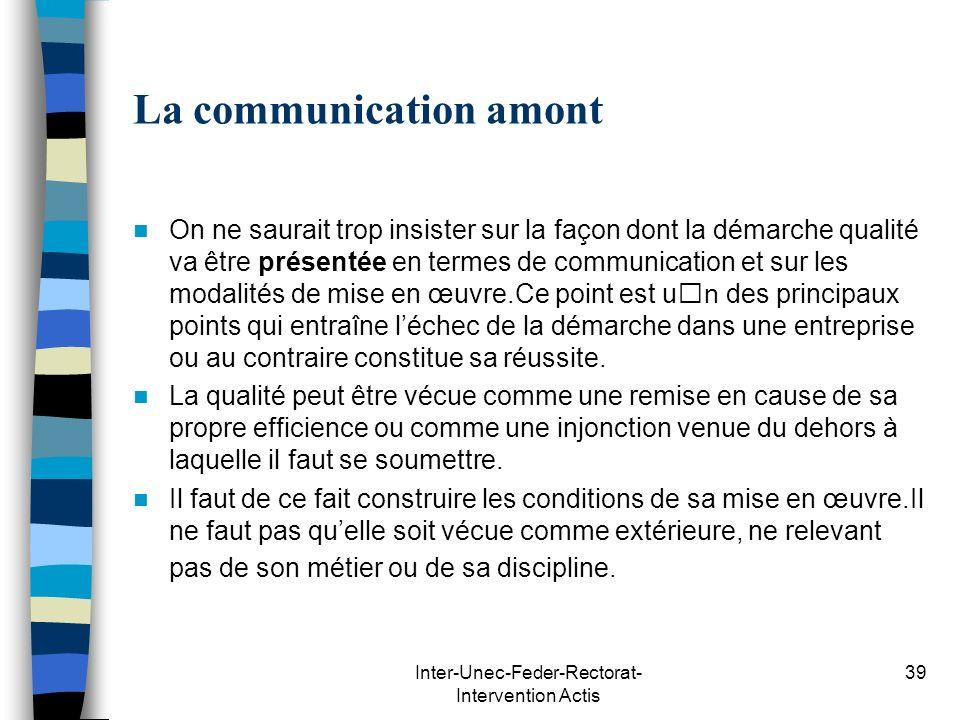 Inter-Unec-Feder-Rectorat- Intervention Actis 39 La communication amont On ne saurait trop insister sur la façon dont la démarche qualité va être prés