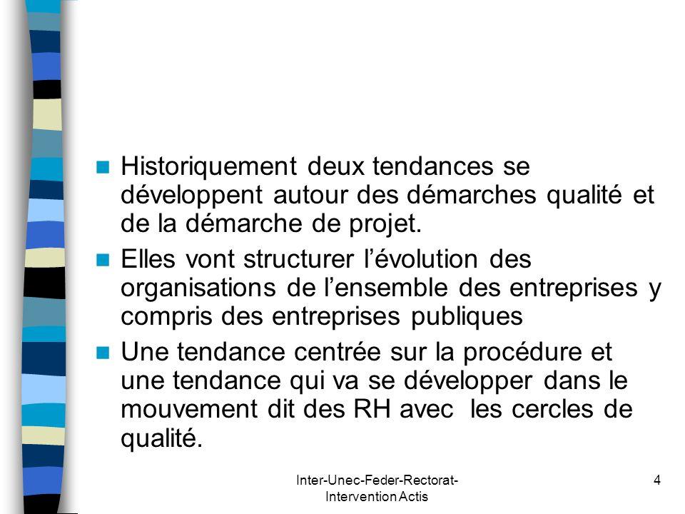 Inter-Unec-Feder-Rectorat- Intervention Actis 4 Historiquement deux tendances se développent autour des démarches qualité et de la démarche de projet.