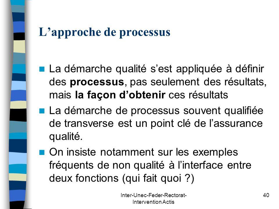 Inter-Unec-Feder-Rectorat- Intervention Actis 40 Lapproche de processus La démarche qualité sest appliquée à définir des processus, pas seulement des