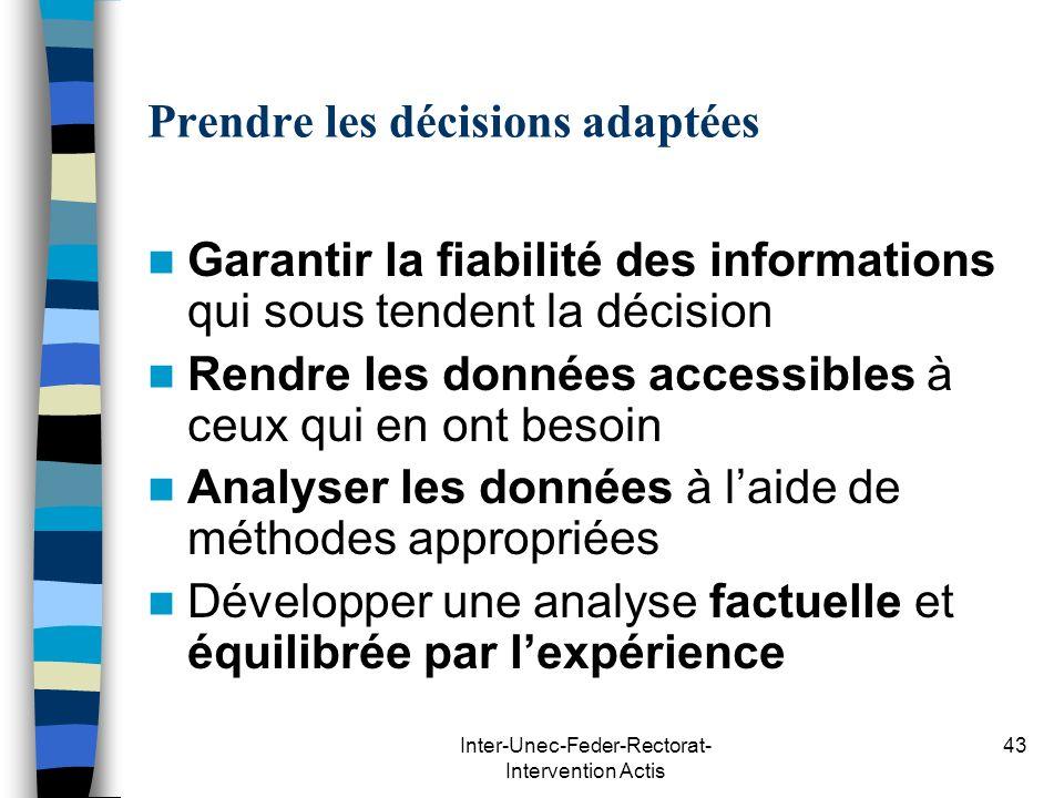 Inter-Unec-Feder-Rectorat- Intervention Actis 43 Prendre les décisions adaptées Garantir la fiabilité des informations qui sous tendent la décision Re
