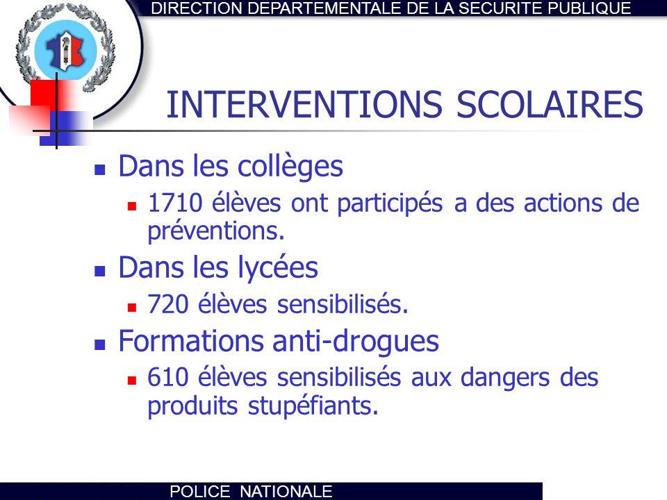 DIRECTION DEPARTEMENTALE DE LA SECURITE PUBLIQUE POLICE NATIONALE INTERVENTIONS SCOLAIRES Dans les collèges 1710 élèves ont participés a des actions d