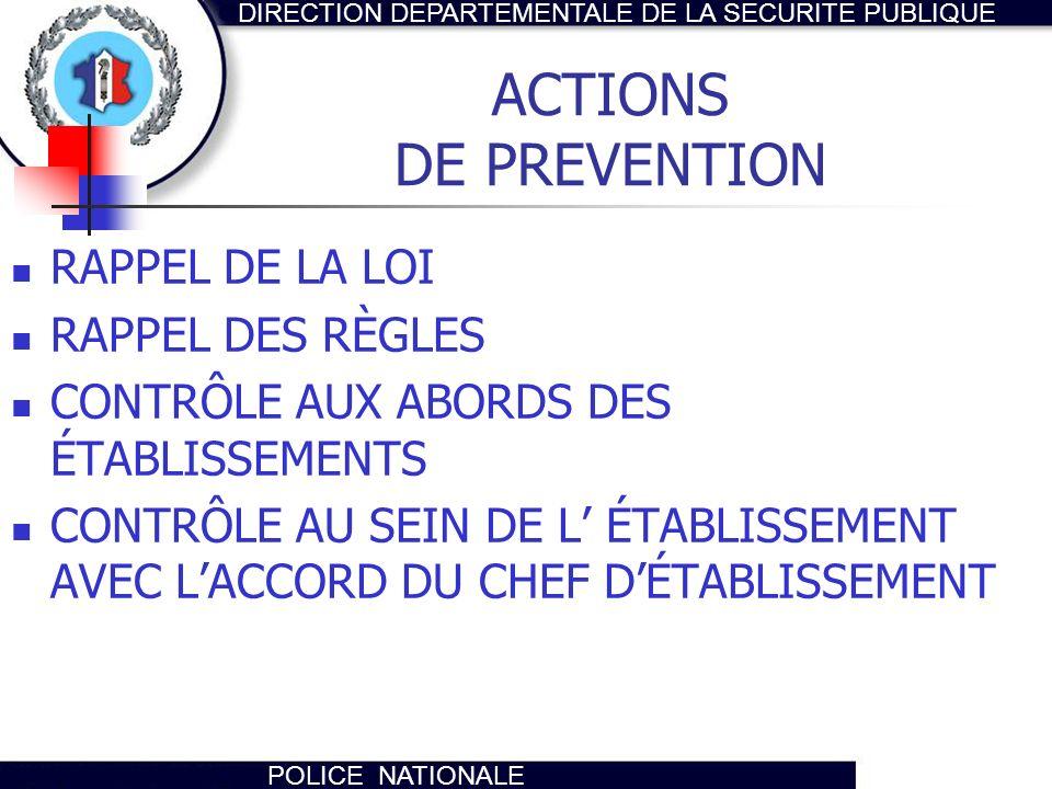 DIRECTION DEPARTEMENTALE DE LA SECURITE PUBLIQUE POLICE NATIONALE ACTIONS DE PREVENTION RAPPEL DE LA LOI RAPPEL DES RÈGLES CONTRÔLE AUX ABORDS DES ÉTA
