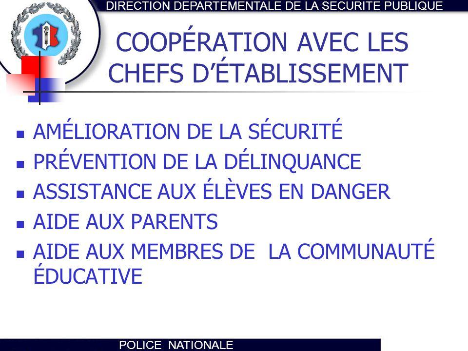 DIRECTION DEPARTEMENTALE DE LA SECURITE PUBLIQUE POLICE NATIONALE COOPÉRATION AVEC LES CHEFS DÉTABLISSEMENT AMÉLIORATION DE LA SÉCURITÉ PRÉVENTION DE