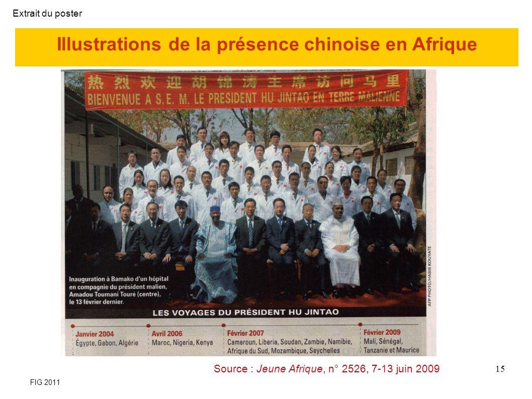 Illustrations de la présence chinoise en Afrique Source : Jeune Afrique, n° 2526, 7-13 juin 2009 15 FIG 2011 Extrait du poster