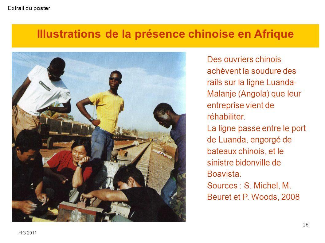 Illustrations de la présence chinoise en Afrique Des ouvriers chinois achèvent la soudure des rails sur la ligne Luanda- Malanje (Angola) que leur entreprise vient de réhabiliter.