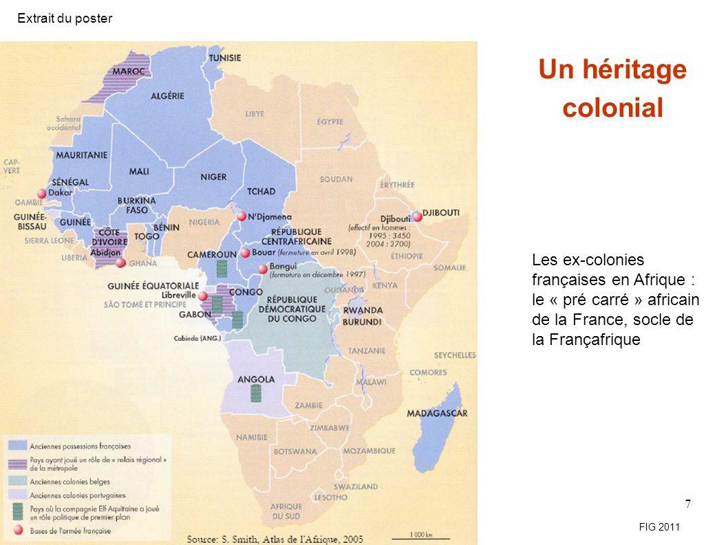 Exemple dopération caractéristique de lévolution récente de la Françafrique Sources : Jeune Afrique, n° 2517, 5-11 avril 2009 18 Extrait du poster FIG 2011