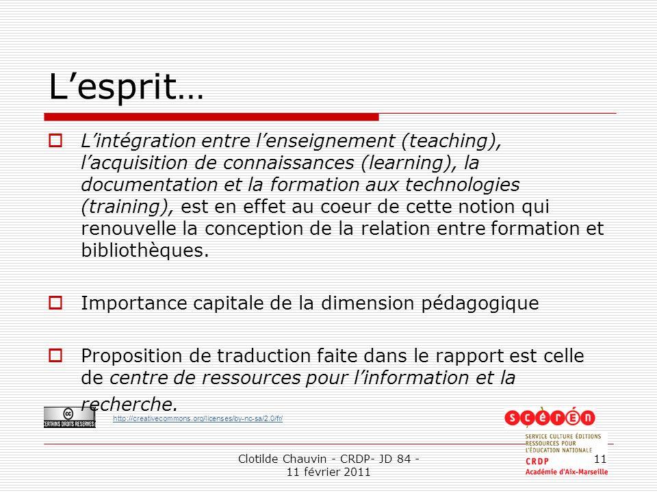 http://creativecommons.org/licenses/by-nc-sa/2.0/fr/ Clotilde Chauvin - CRDP- JD 84 - 11 février 2011 11 Lesprit… Lintégration entre lenseignement (te