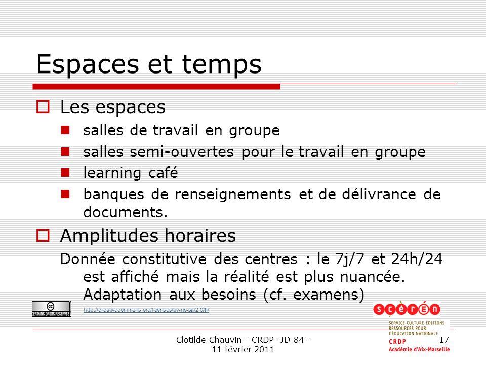 http://creativecommons.org/licenses/by-nc-sa/2.0/fr/ Clotilde Chauvin - CRDP- JD 84 - 11 février 2011 17 Espaces et temps Les espaces salles de travai