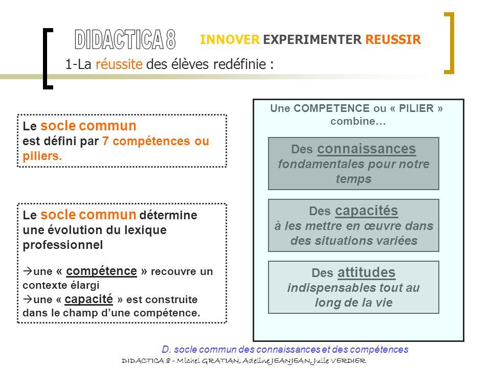 INNOVER EXPERIMENTER REUSSIR 1-La réussite des élèves redéfinie : Le socle commun est défini par 7 compétences ou piliers. Des connaissances fondament