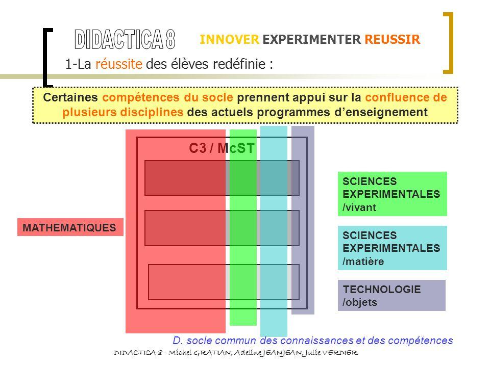 INNOVER EXPERIMENTER REUSSIR 1-La réussite des élèves redéfinie : Certaines compétences du socle prennent appui sur la confluence de plusieurs discipl