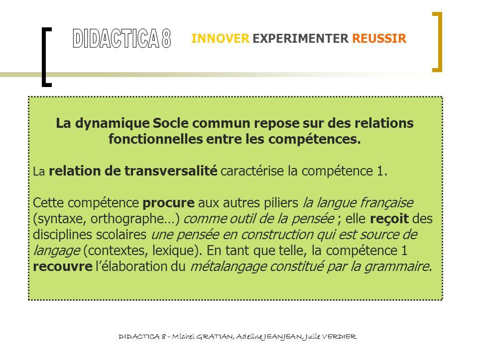 INNOVER EXPERIMENTER REUSSIR La dynamique Socle commun repose sur des relations fonctionnelles entre les compétences. La relation de transversalité ca