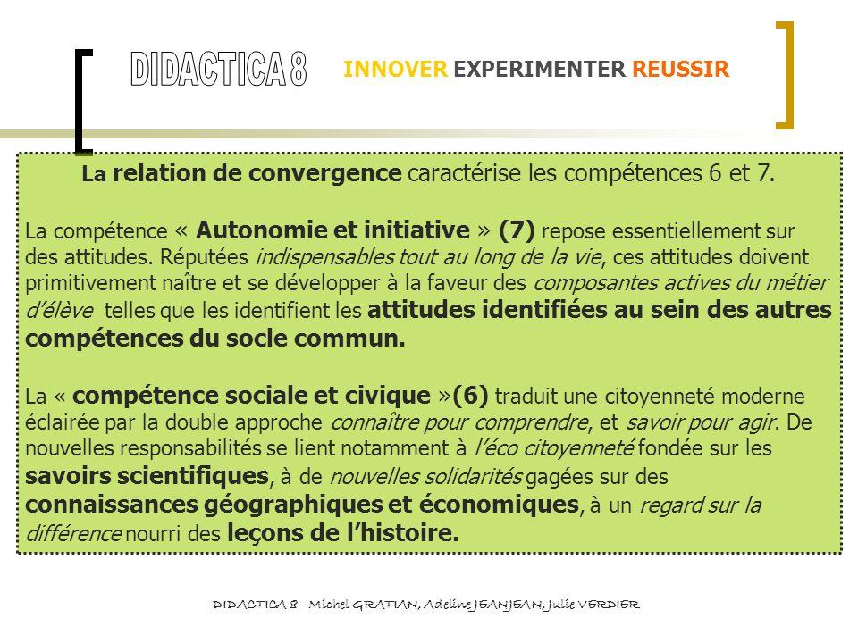 INNOVER EXPERIMENTER REUSSIR La relation de convergence caractérise les compétences 6 et 7. La compétence « Autonomie et initiative » (7) repose essen