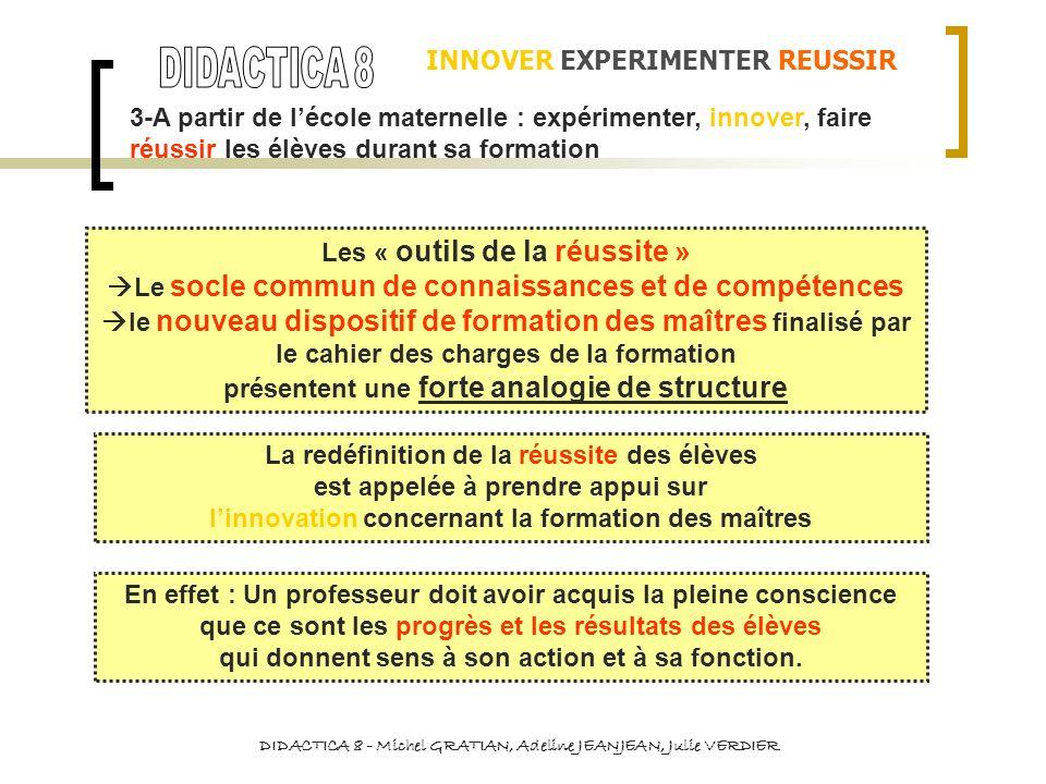 3-A partir de lécole maternelle : expérimenter, innover, faire réussir les élèves durant sa formation INNOVER EXPERIMENTER REUSSIR DIDACTICA 8 - Miche