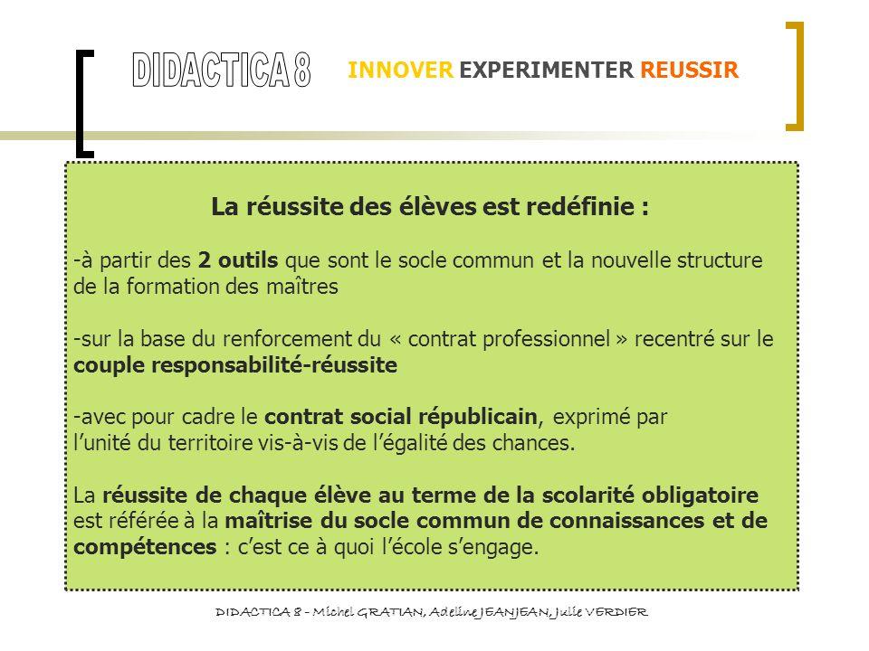 LA REDACTION 2-Maîtriser la langue française pour enseigner et communiquer -maîtrise de la langue écrite (vocabulaire, grammaire, conjugaison, ponctuation, orthographe) -capacité de communiquer avec clarté et précision et dans un langage adapté à lécrit LA SOUTENANCE 8-Maîtriser les technologies de linformation et de la communication -connaissances et savoir-faire constitutifs du référentiel du C2i de niveau 2 « enseignant » appliquées à la communication de la pratique professionnelle 2-Maîtriser la langue française pour enseigner et communiquer -maîtrise de la langue orale (vocabulaire, grammaire, conjugaison, ponctuation, orthographe) -capacité de communiquer avec clarté et précision et dans un langage adapté à loral 10-Se former et innover -attitude de remise en question de son enseignement et de ses méthodes -attitude dinscription dans une logique de formation professionnelle tout au long de la vie INNOVER EXPERIMENTER REUSSIR 4-Réussir sa formation DIDACTICA 8 - Michel GRATIAN, Adeline JEANJEAN, Julie VERDIER