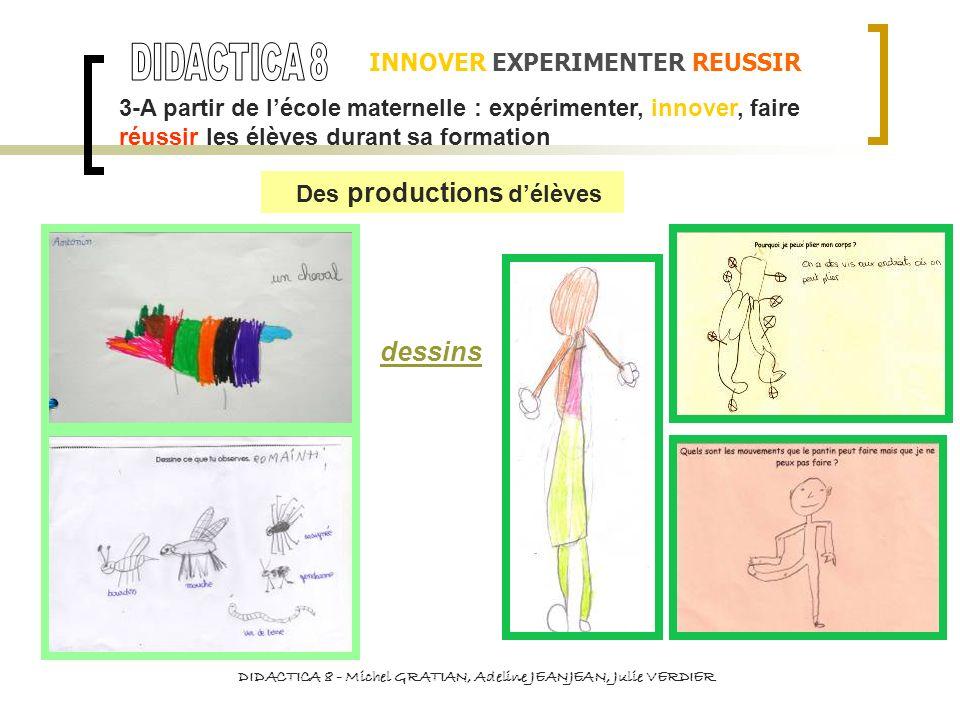 INNOVER EXPERIMENTER REUSSIR DIDACTICA 8 - Michel GRATIAN, Adeline JEANJEAN, Julie VERDIER dessins 3-A partir de lécole maternelle : expérimenter, inn