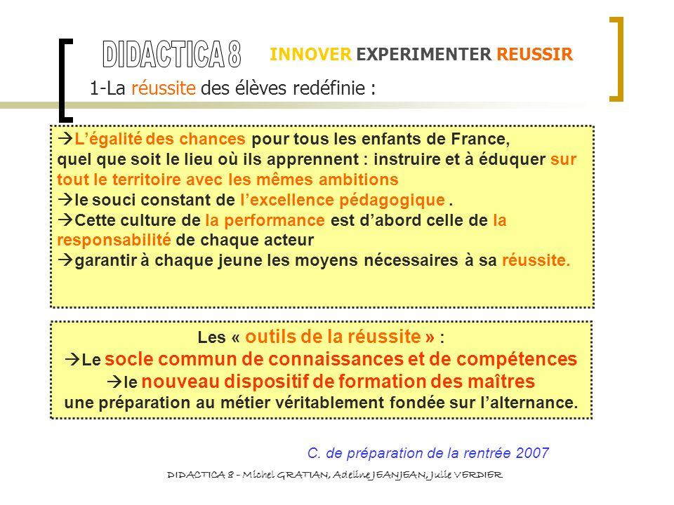 INNOVER EXPERIMENTER REUSSIR 1-La réussite des élèves redéfinie : Chaque COMPETENCE est en relation avec dautres COMPETENCES, par exemple : C1 MLF C2 LVE C3 McST C4 TIC C5 cH C6 cSC C7 AI D.