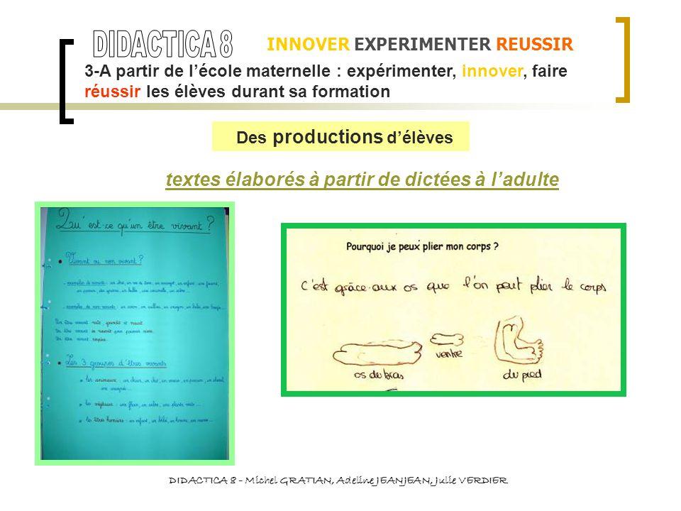 INNOVER EXPERIMENTER REUSSIR DIDACTICA 8 - Michel GRATIAN, Adeline JEANJEAN, Julie VERDIER textes élaborés à partir de dictées à ladulte 3-A partir de