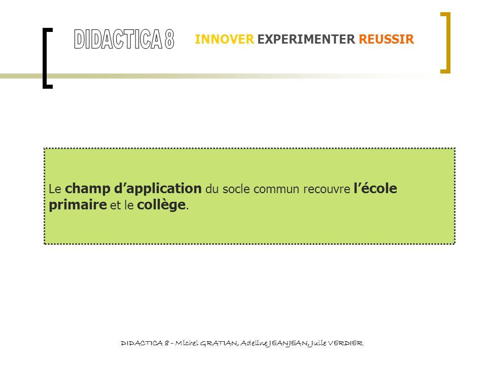 INNOVER EXPERIMENTER REUSSIR La relation de convergence caractérise les compétences 6 et 7.