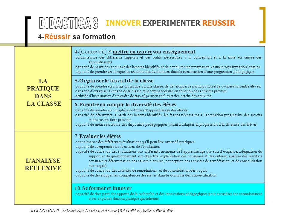 LA PRATIQUE DANS LA CLASSE 4-[Concevoir] et mettre en œuvre son enseignement -connaissance des différents supports et des outils nécessaires à la conc
