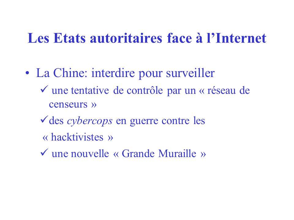 Les Etats autoritaires face à lInternet La Chine: interdire pour surveiller une tentative de contrôle par un « réseau de censeurs » des cybercops en guerre contre les « hacktivistes » une nouvelle « Grande Muraille »