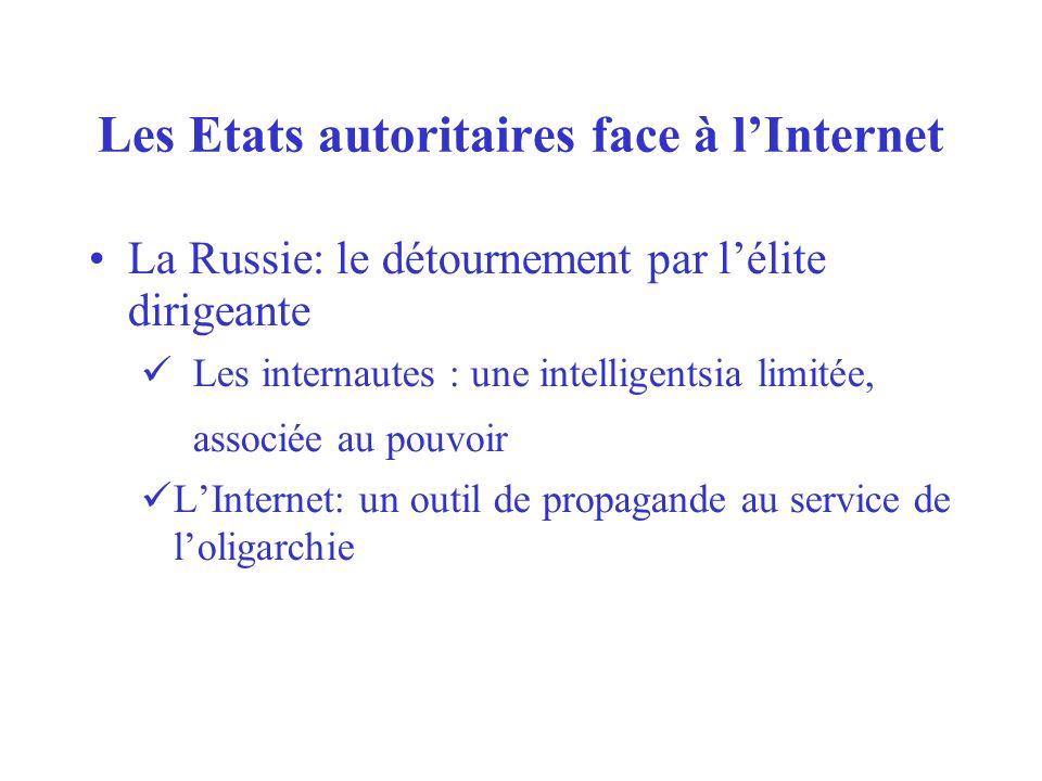 Les Etats autoritaires face à lInternet La Russie: le détournement par lélite dirigeante Les internautes : une intelligentsia limitée, associée au pouvoir LInternet: un outil de propagande au service de loligarchie