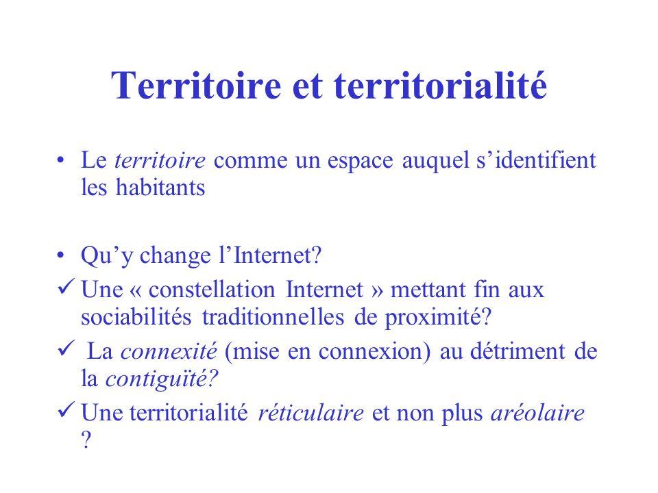 Territoire et territorialité Le territoire comme un espace auquel sidentifient les habitants Quy change lInternet? Une « constellation Internet » mett