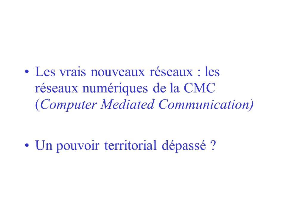 Les vrais nouveaux réseaux : les réseaux numériques de la CMC (Computer Mediated Communication) Un pouvoir territorial dépassé ?