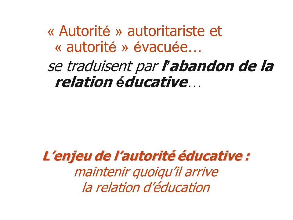 « Autorit é » autoritariste et « autorit é » é vacu é e … se traduisent par l abandon de la relation é ducative … Lenjeu de lautorité éducative : Lenj