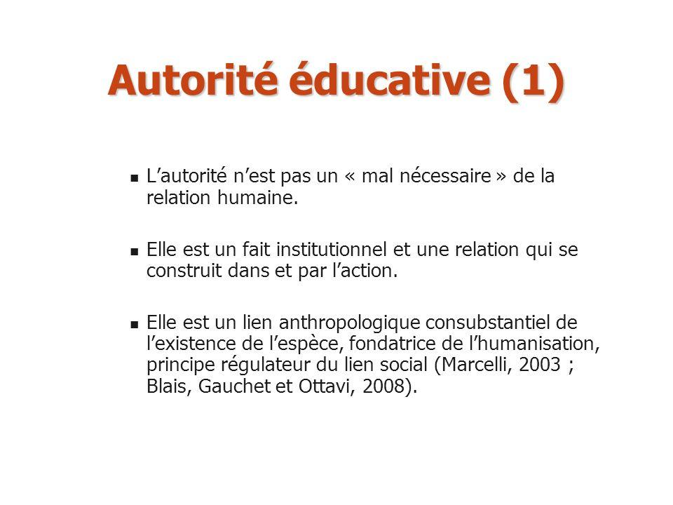 Autorité éducative (1) Lautorité nest pas un « mal nécessaire » de la relation humaine. Elle est un fait institutionnel et une relation qui se constru