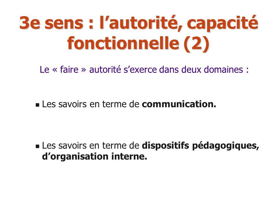 3e sens : lautorité, capacité fonctionnelle (2) Les savoirs en terme de communication. Les savoirs en terme de dispositifs pédagogiques, dorganisation
