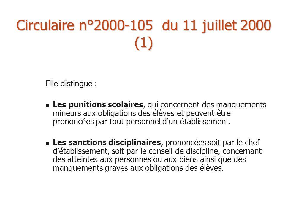 Circulaire n°2000-105 du 11 juillet 2000 (1) Elle distingue : Les punitions scolaires, qui concernent des manquements mineurs aux obligations des élèv