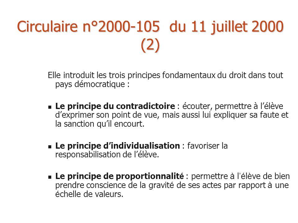Circulaire n°2000-105 du 11 juillet 2000 (2) Elle introduit les trois principes fondamentaux du droit dans tout pays démocratique : Le principe du con