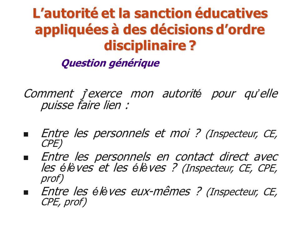 Question générique Lautorité et la sanction éducatives appliquées à des décisions dordre disciplinaire ? Comment j exerce mon autorit é pour qu elle p