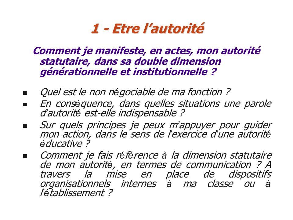 Comment je manifeste, en actes, mon autorité statutaire, dans sa double dimension générationnelle et institutionnelle ? 1 - Etre lautorité Quel est le