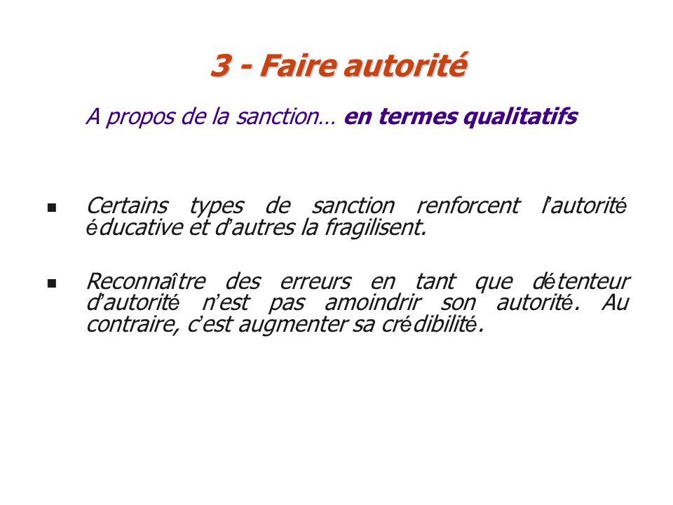 A propos de la sanction… en termes qualitatifs 3 - Faire autorité Certains types de sanction renforcent l autorit é é ducative et d autres la fragilis