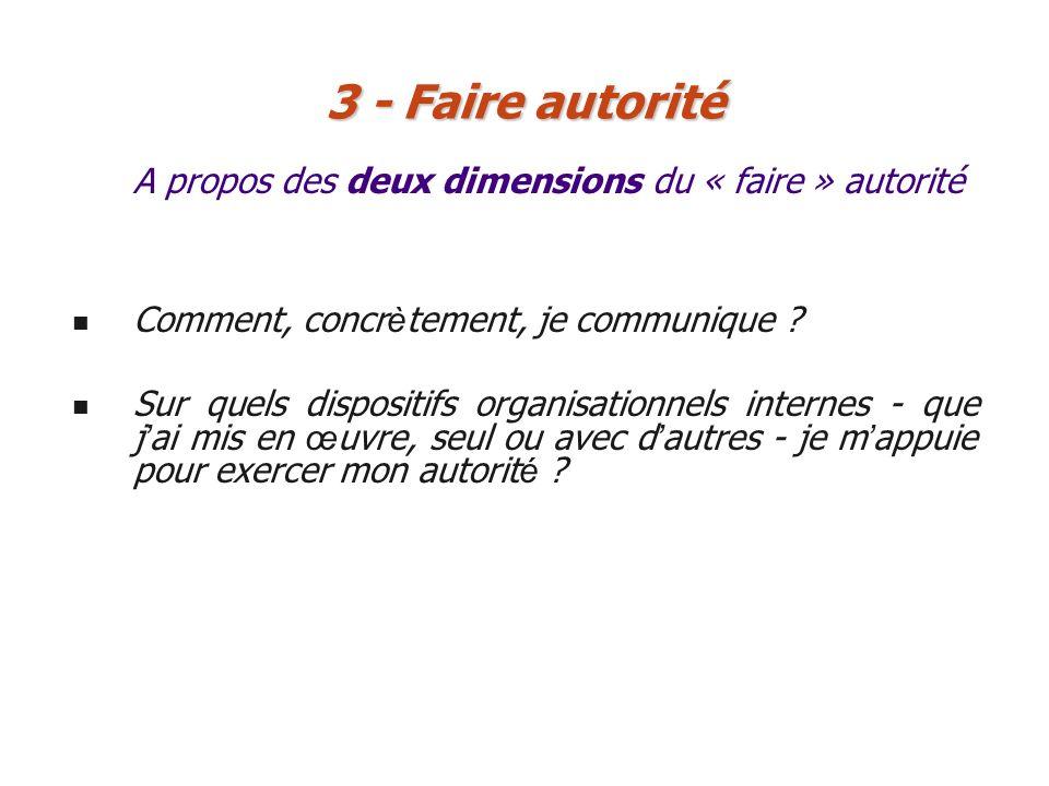 A propos des deux dimensions du « faire » autorité 3 - Faire autorité Comment, concr è tement, je communique ? Sur quels dispositifs organisationnels