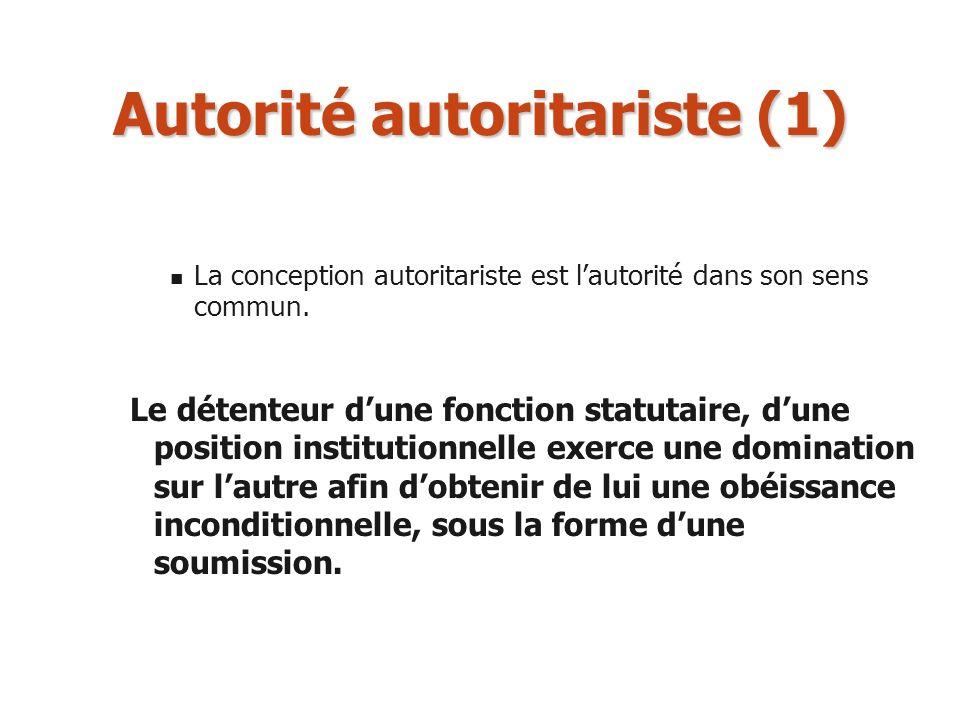 Autorité autoritariste (1) La conception autoritariste est lautorité dans son sens commun. Le détenteur dune fonction statutaire, dune position instit