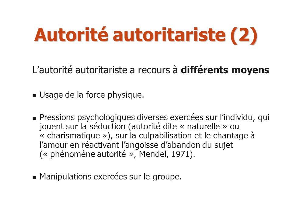 Autorité autoritariste (2) Lautorité autoritariste a recours à différents moyens Usage de la force physique. Pressions psychologiques diverses exercée